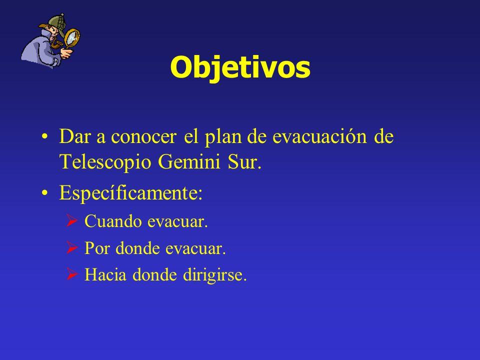 Objetivos Dar a conocer el plan de evacuación de Telescopio Gemini Sur. Específicamente: Cuando evacuar. Por donde evacuar. Hacia donde dirigirse.