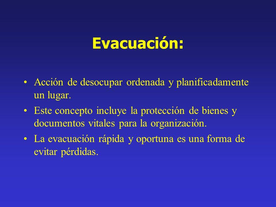 Evacuación: Acción de desocupar ordenada y planificadamente un lugar. Este concepto incluye la protección de bienes y documentos vitales para la organ
