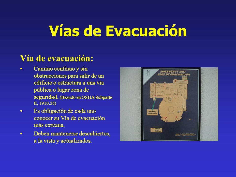 Vías de Evacuación Vía de evacuación: Camino contínuo y sin obstrucciones para salir de un edificio o estructura a una vía pública o lugar zona de seg