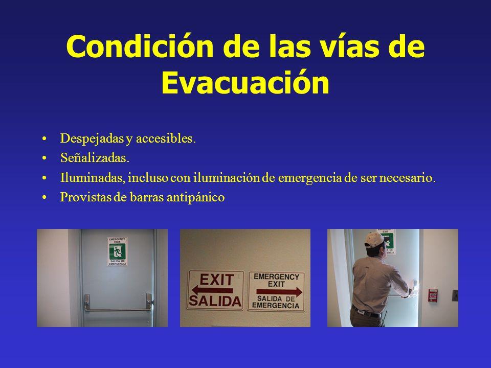 Condición de las vías de Evacuación Despejadas y accesibles. Señalizadas. Iluminadas, incluso con iluminación de emergencia de ser necesario. Provista