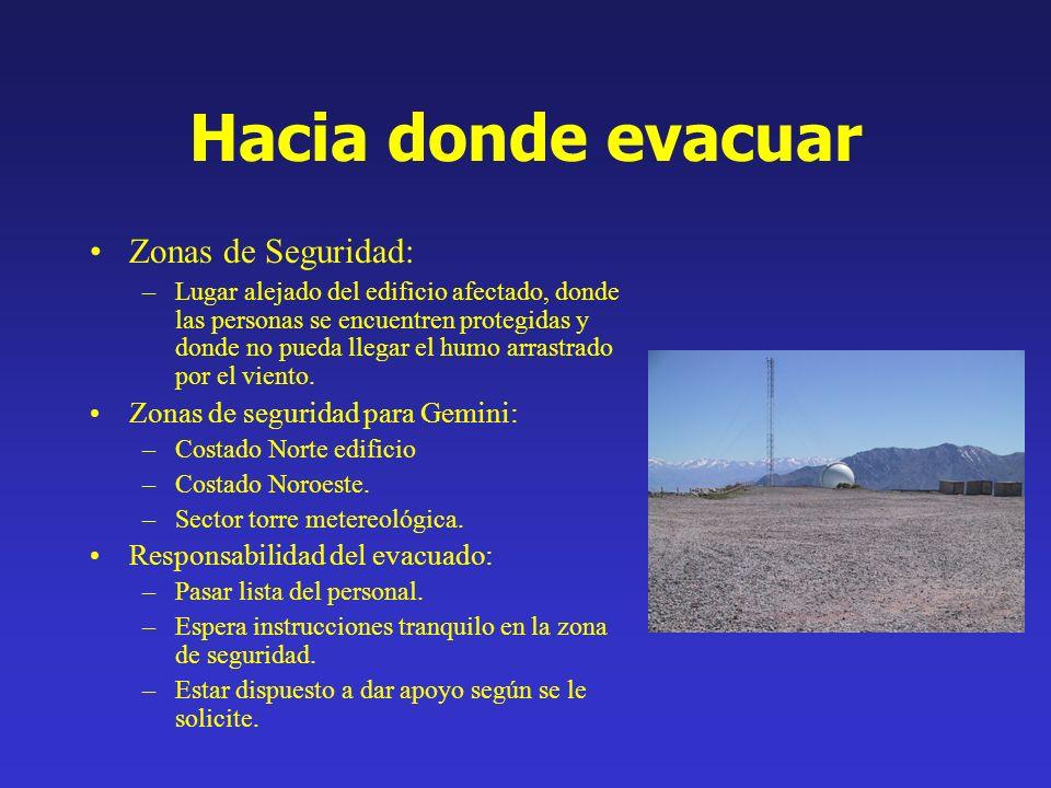 Hacia donde evacuar Zonas de Seguridad: –Lugar alejado del edificio afectado, donde las personas se encuentren protegidas y donde no pueda llegar el h