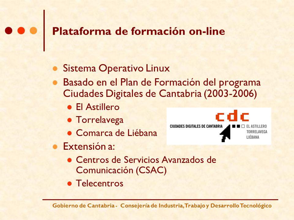 Gobierno de Cantabria - Consejería de Industria, Trabajo y Desarrollo Tecnológico Acciones a destacar sobre Software Libre Instalación de Linux Global en los equipos de los CSAC Difusión y distribución de Linux a través de ACIAL (Asociación Cántabra de Informáticos de la Administración Local) Programas de concienciación sobre el uso de Software Libre dirigidos a empresas