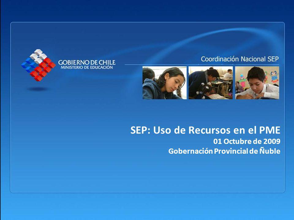 Objetivo de la Presentación Resumir los lineamientos definidos para el uso de los recursos de la Subvención Escolar Preferencial (SEP).