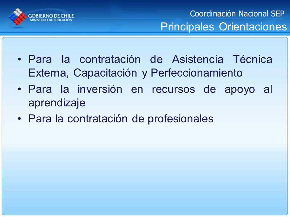 Principales Orientaciones Para la contratación de Asistencia Técnica Externa, Capacitación y Perfeccionamiento Para la inversión en recursos de apoyo