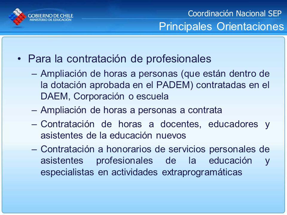 Principales Orientaciones Para la contratación de profesionales –Ampliación de horas a personas (que están dentro de la dotación aprobada en el PADEM)
