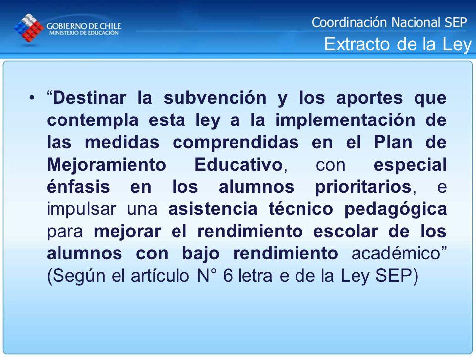 Extracto de la Ley Destinar la subvención y los aportes que contempla esta ley a la implementación de las medidas comprendidas en el Plan de Mejoramie