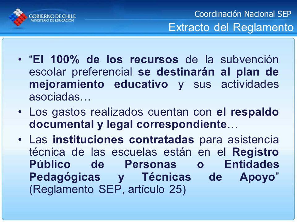 Extracto del Reglamento El 100% de los recursos de la subvención escolar preferencial se destinarán al plan de mejoramiento educativo y sus actividade
