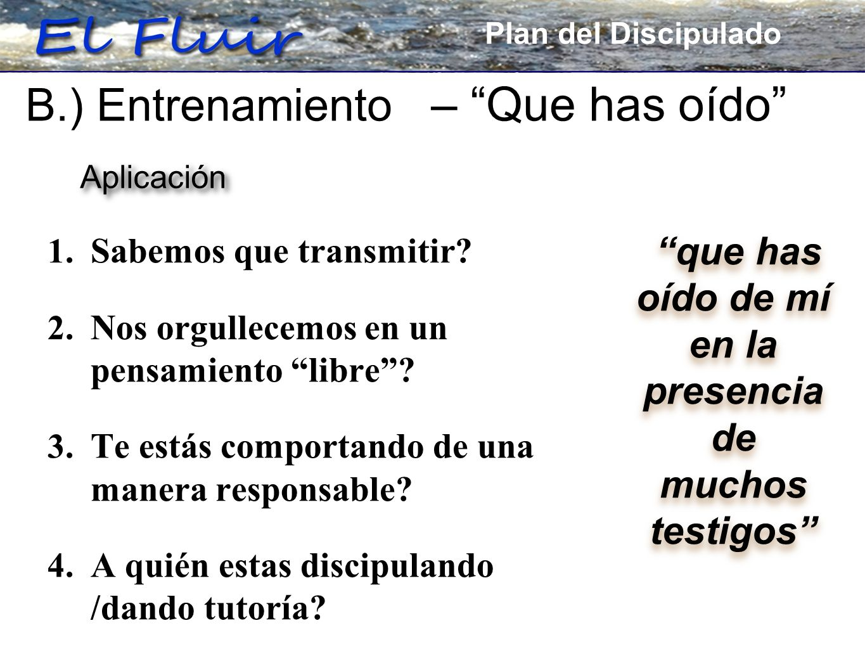 Plan for Discipleship 1. Sabemos que transmitir? 2. Nos orgullecemos en un pensamiento libre? 3. Te estás comportando de una manera responsable? 4. A