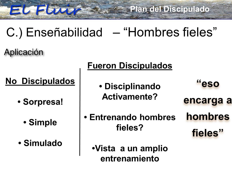 Plan for Discipleship C.) Enseñabilidad – Hombres fieles eso encarga a hombres fieles eso encarga a hombres fieles Aplicación Fueron Discipulados Disciplinando Activamente.
