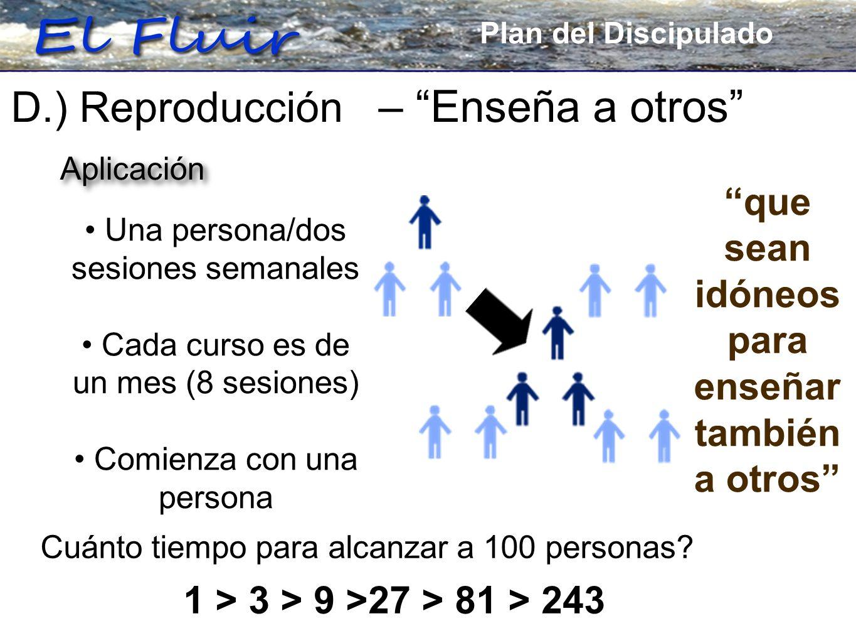 Plan for Discipleship D.) Reproducción – Enseña a otros que sean idóneos para enseñar también a otros Una persona/dos sesiones semanales Cada curso es