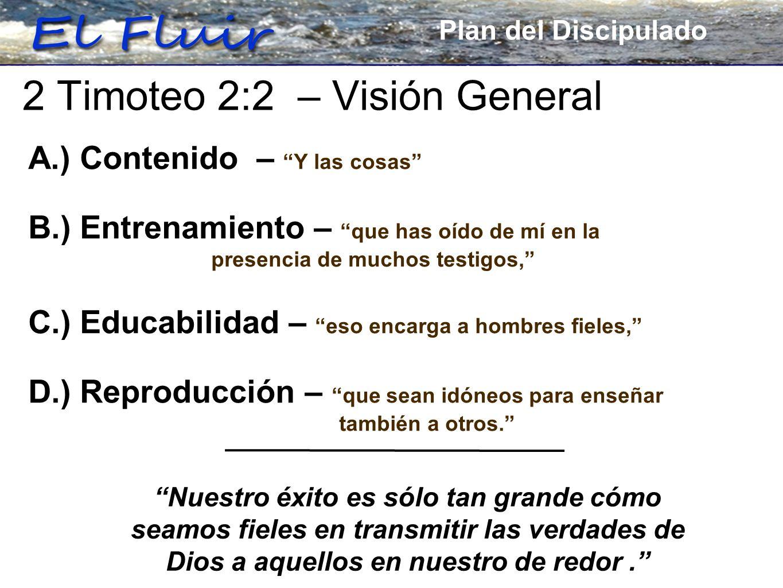 Plan for Discipleship A.) Contenido – Y las cosas B.) Entrenamiento – que has oído de mí en la presencia de muchos testigos, C.) Educabilidad – eso en