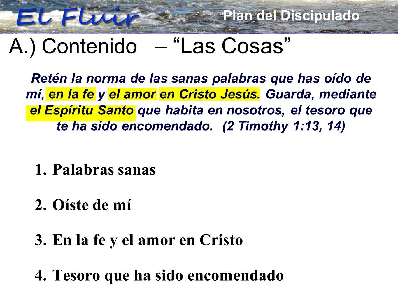Plan for Discipleship 1. Palabras sanas 2. Oíste de mí 3. En la fe y el amor en Cristo 4. Tesoro que ha sido encomendado A.) Contenido – Las Cosas Pla