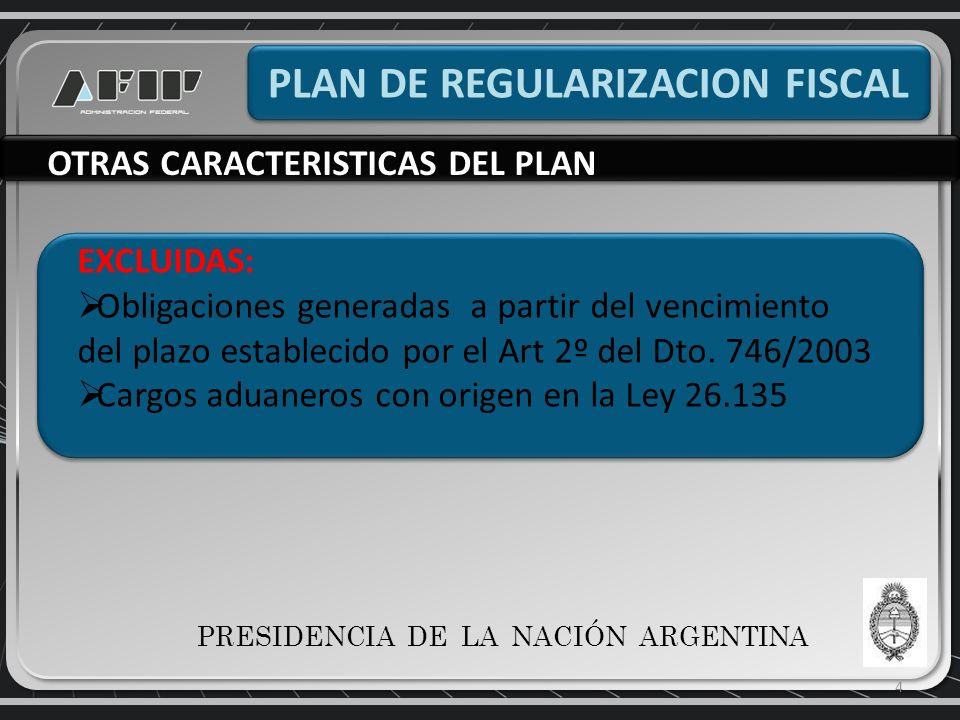 4 PLAN DE REGULARIZACION FISCAL OTRAS CARACTERISTICAS DEL PLAN EXCLUIDAS: Obligaciones generadas a partir del vencimiento del plazo establecido por el Art 2º del Dto.