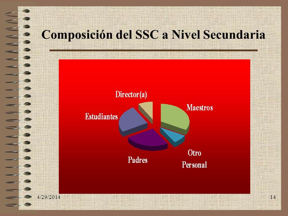 4/29/201414 Composición del SSC a Nivel Secundaria