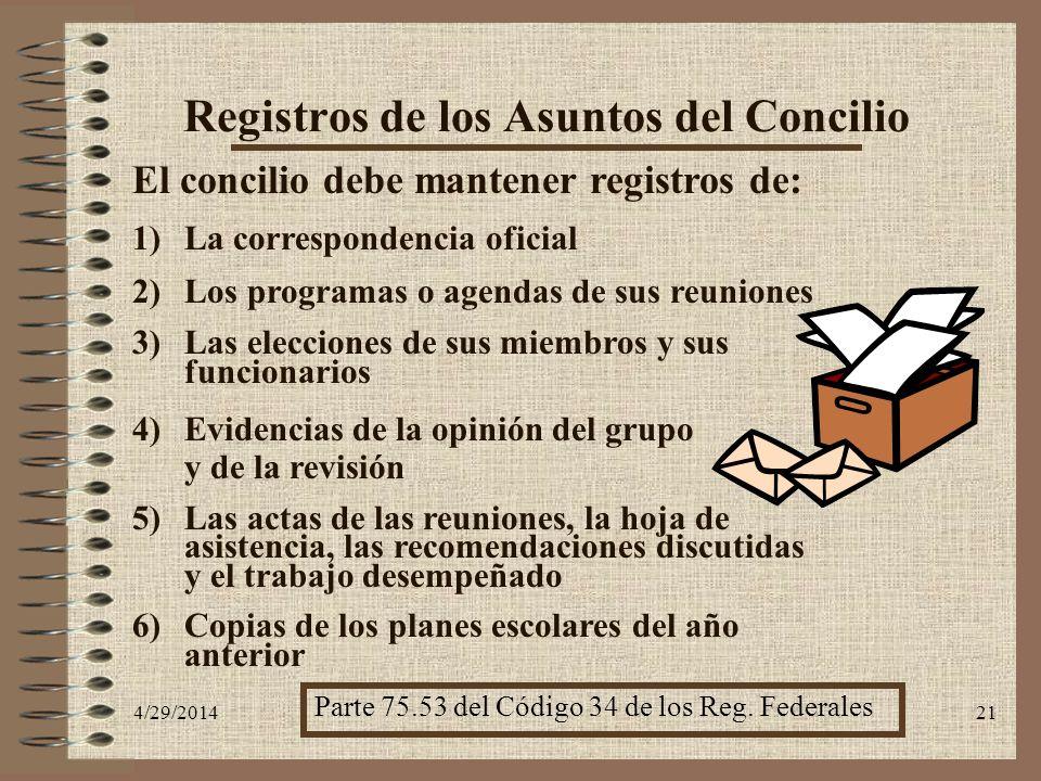 4/29/201421 Registros de los Asuntos del Concilio El concilio debe mantener registros de: 1)La correspondencia oficial 2)Los programas o agendas de su