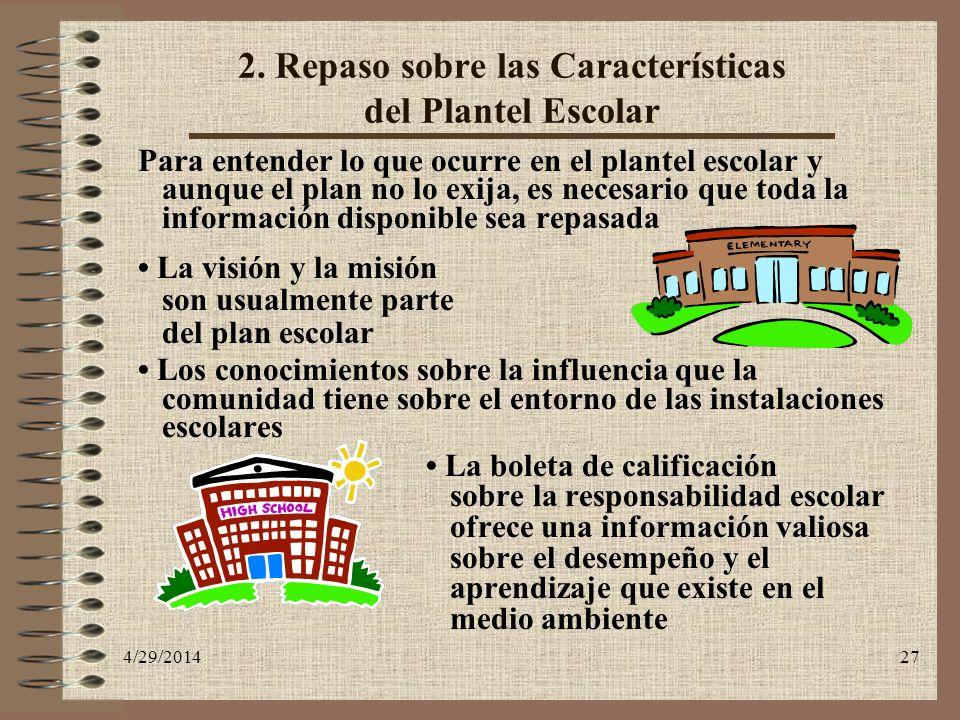 4/29/201427 2. Repaso sobre las Características del Plantel Escolar Para entender lo que ocurre en el plantel escolar y aunque el plan no lo exija, es