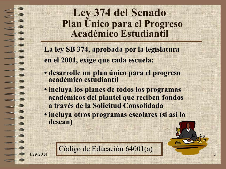 4/29/20143 Ley 374 del Senado Plan Único para el Progreso Académico Estudiantil La ley SB 374, aprobada por la legislatura en el 2001, exige que cada