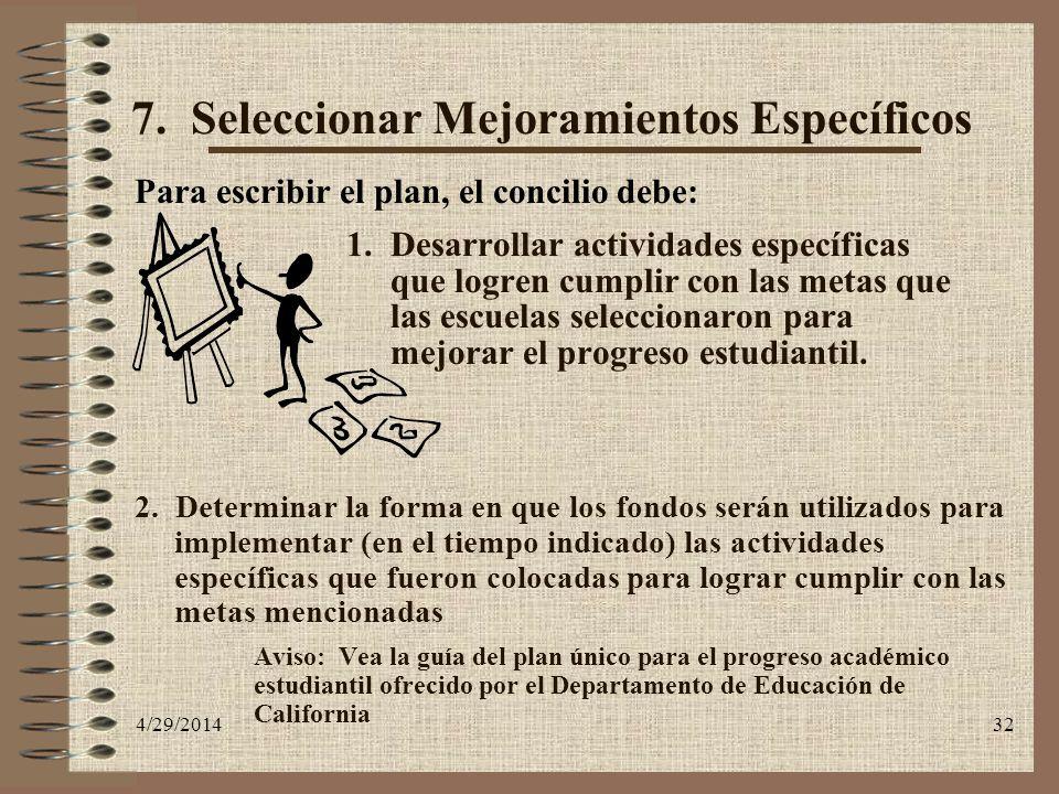 4/29/201432 7. Seleccionar Mejoramientos Específicos Para escribir el plan, el concilio debe: 1. Desarrollar actividades específicas que logren cumpli