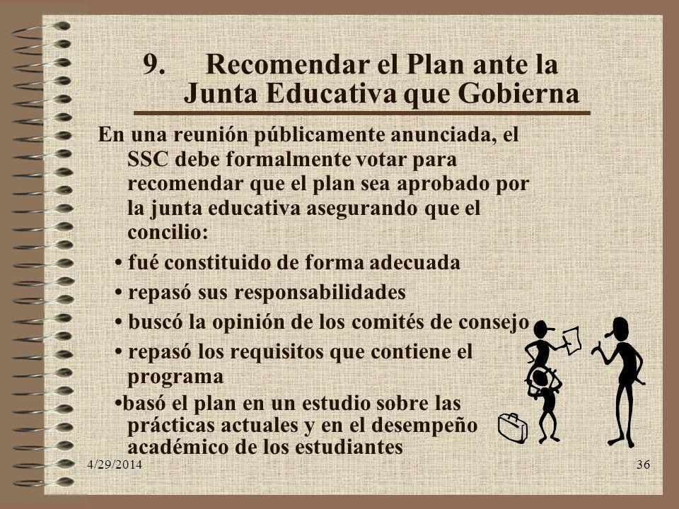 4/29/201436 9.Recomendar el Plan ante la Junta Educativa que Gobierna En una reunión públicamente anunciada, el SSC debe formalmente votar para recome