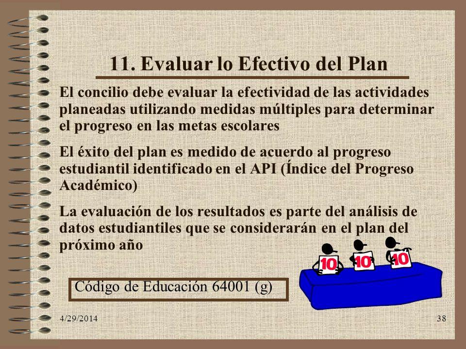 4/29/201438 11. Evaluar lo Efectivo del Plan El concilio debe evaluar la efectividad de las actividades planeadas utilizando medidas múltiples para de