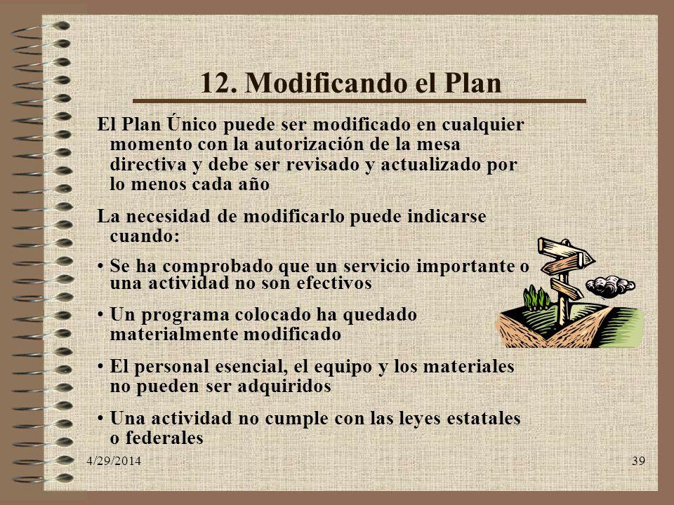 4/29/201439 12. Modificando el Plan El Plan Único puede ser modificado en cualquier momento con la autorización de la mesa directiva y debe ser revisa
