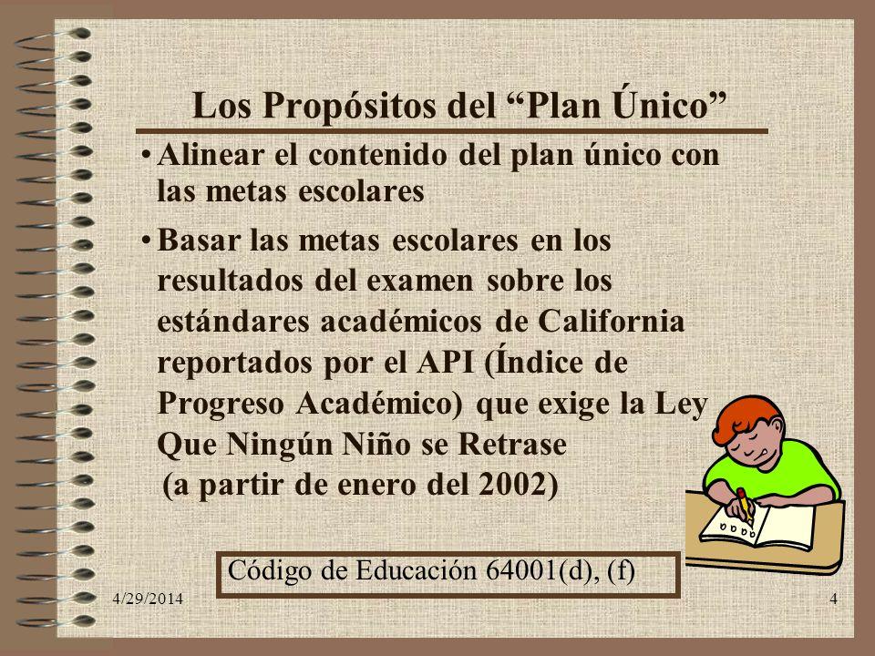 4/29/20144 Los Propósitos del Plan Único Alinear el contenido del plan único con las metas escolares Basar las metas escolares en los resultados del e