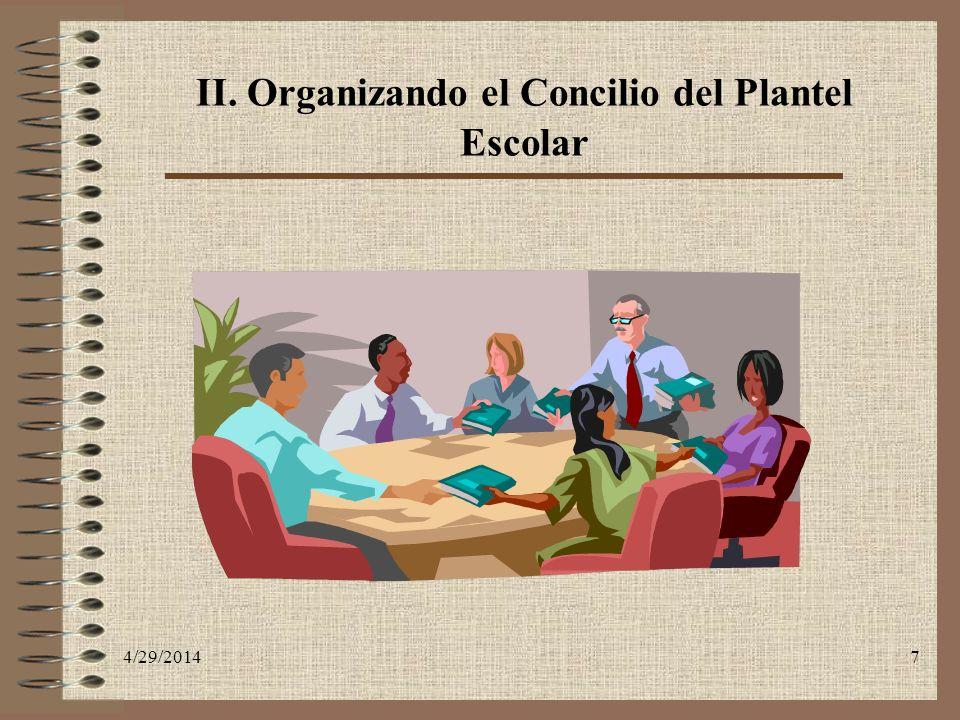 4/29/20147 II. Organizando el Concilio del Plantel Escolar