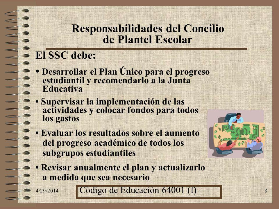4/29/20148 El SSC debe: Desarrollar el Plan Único para el progreso estudiantil y recomendarlo a la Junta Educativa Supervisar la implementación de las