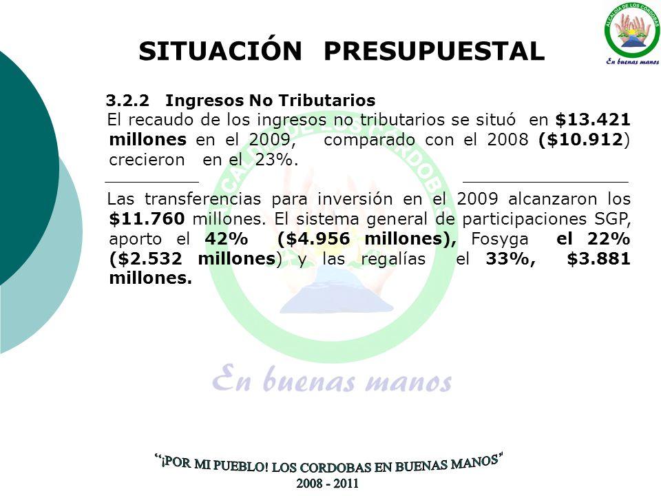 SITUACIÓN PRESUPUESTAL 3.2.2 Ingresos No Tributarios El recaudo de los ingresos no tributarios se situó en $13.421 millones en el 2009, comparado con el 2008 ($10.912) crecieron en el 23%.