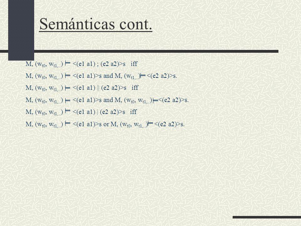 Semánticas cont. M, (w t0, w t1,.. ) s iff M, (w t0, w t1,..