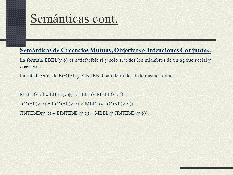 Semánticas cont. Semánticas de Creencias Mutuas, Objetivos e Intenciones Conjuntas.