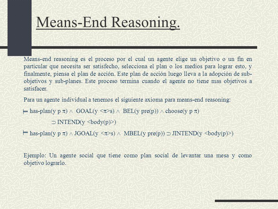Means-End Reasoning. Means-end reasoning es el proceso por el cual un agente elige un objetivo o un fin en particular que necesita ser satisfecho, sel