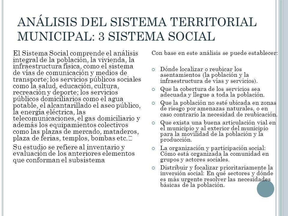 ANÁLISIS DEL SISTEMA TERRITORIAL MUNICIPAL: 3 SISTEMA SOCIAL El Sistema Social comprende el análisis integral de la población, la vivienda, la infraes