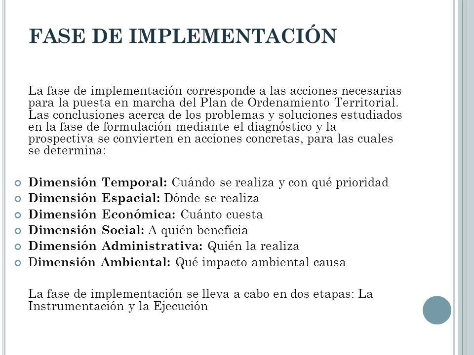 FASE DE IMPLEMENTACIÓN La fase de implementación corresponde a las acciones necesarias para la puesta en marcha del Plan de Ordenamiento Territorial.