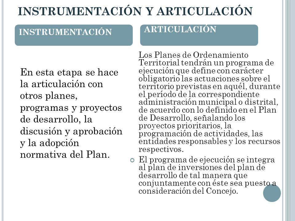 INSTRUMENTACIÓN Y ARTICULACIÓN En esta etapa se hace la articulación con otros planes, programas y proyectos de desarrollo, la discusión y aprobación