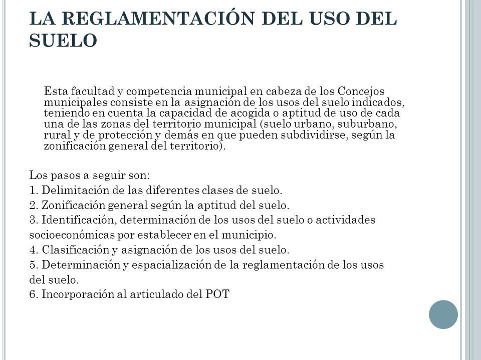 LA REGLAMENTACIÓN DEL USO DEL SUELO Esta facultad y competencia municipal en cabeza de los Concejos municipales consiste en la asignación de los usos