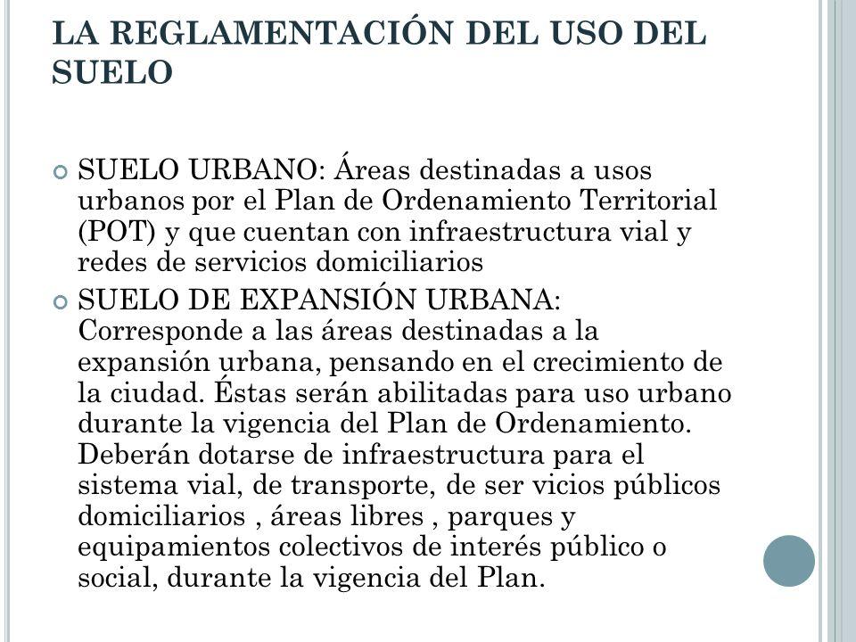 LA REGLAMENTACIÓN DEL USO DEL SUELO SUELO URBANO: Áreas destinadas a usos urbanos por el Plan de Ordenamiento Territorial (POT) y que cuentan con infr