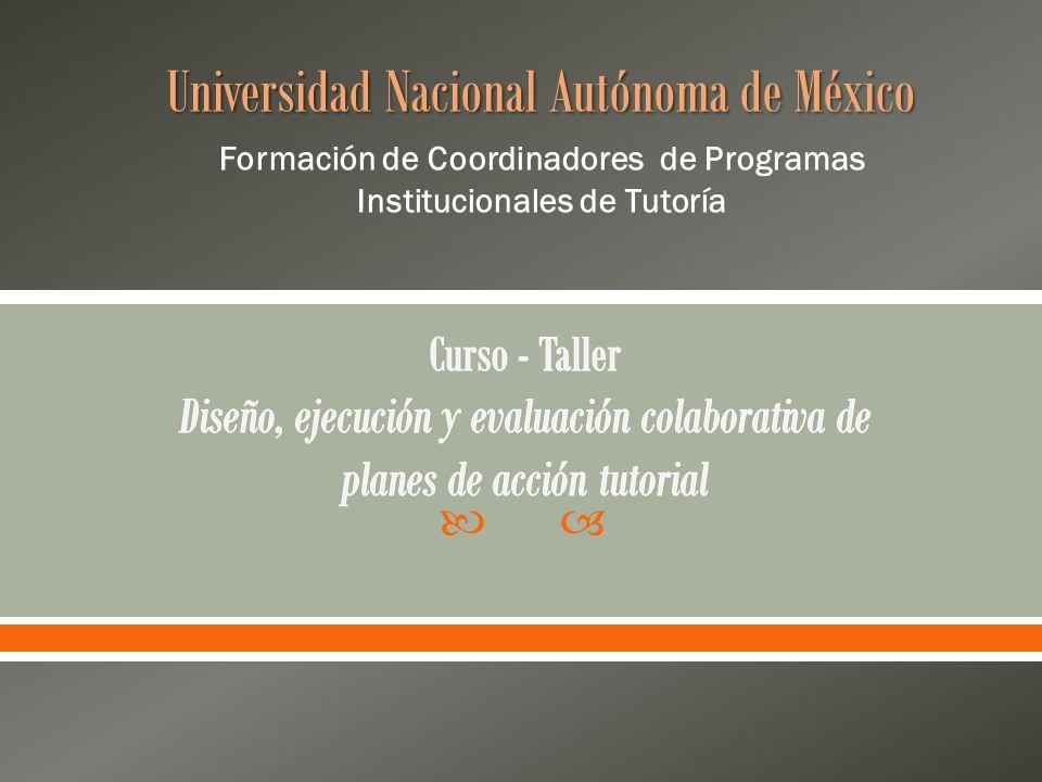 Universidad Nacional Autónoma de México Formación de Coordinadores de Programas Institucionales de Tutoría