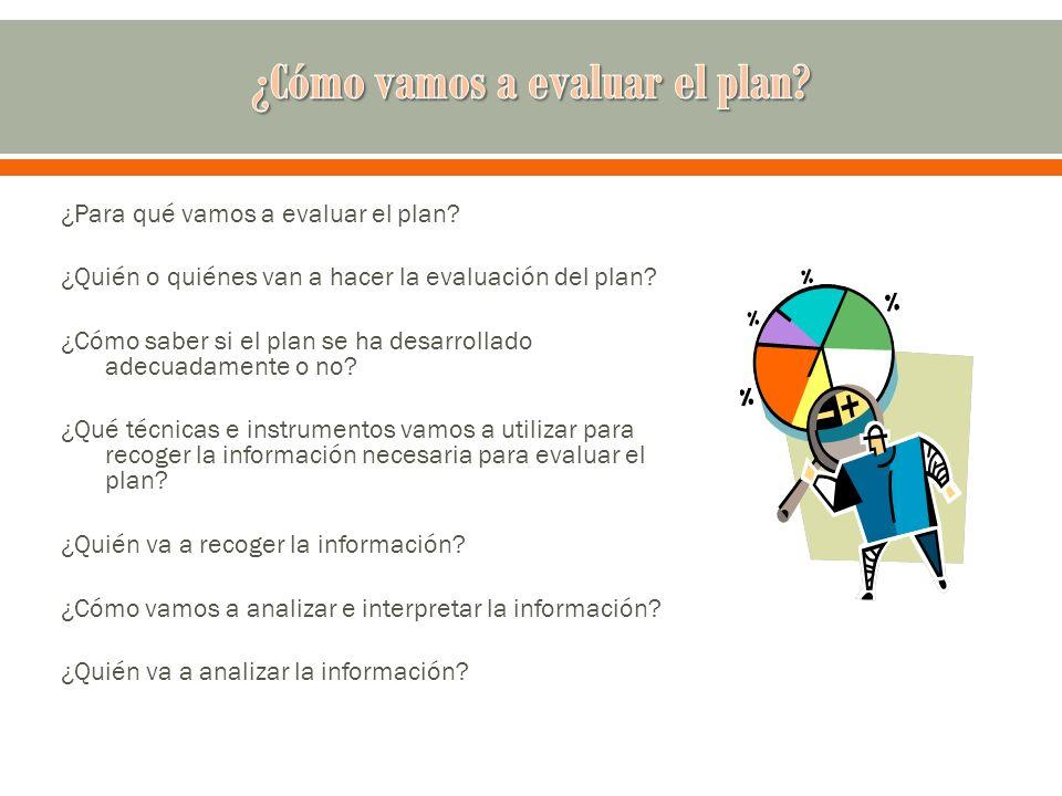 ¿Para qué vamos a evaluar el plan? ¿Quién o quiénes van a hacer la evaluación del plan? ¿Cómo saber si el plan se ha desarrollado adecuadamente o no?