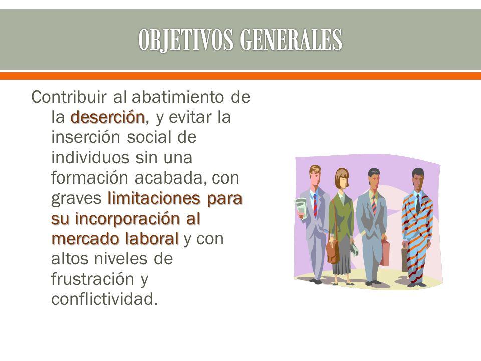 deserción limitaciones para su incorporación al mercado laboral Contribuir al abatimiento de la deserción, y evitar la inserción social de individuos