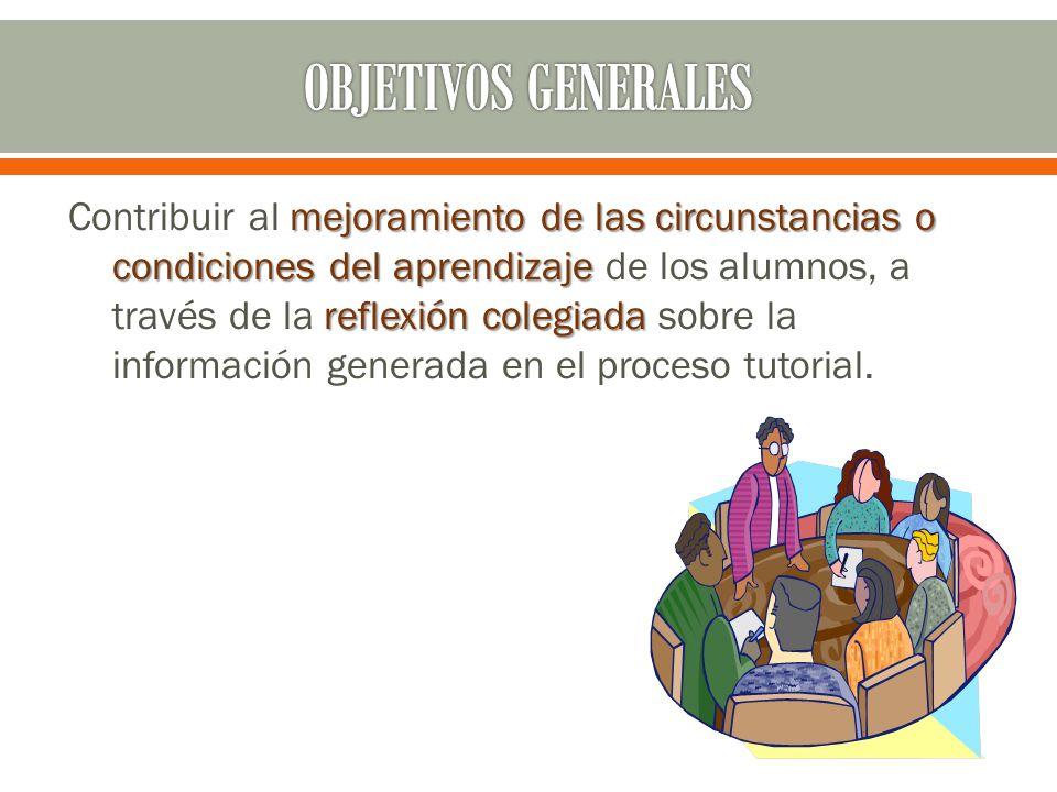 mejoramiento de las circunstancias o condiciones del aprendizaje reflexión colegiada Contribuir al mejoramiento de las circunstancias o condiciones del aprendizaje de los alumnos, a través de la reflexión colegiada sobre la información generada en el proceso tutorial.
