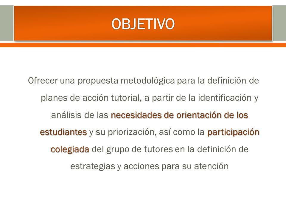 necesidades de orientación de los estudiantes participación colegiada Ofrecer una propuesta metodológica para la definición de planes de acción tutori