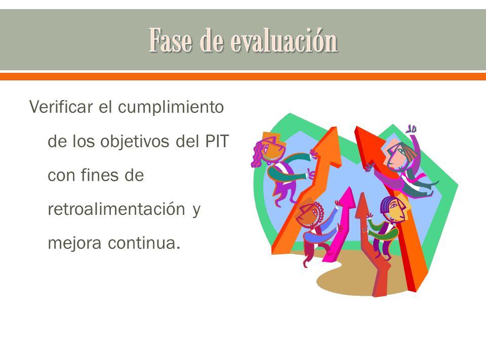 Verificar el cumplimiento de los objetivos del PIT con fines de retroalimentación y mejora continua.