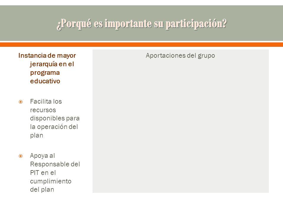 Instancia de mayor jerarquía en el programa educativo Facilita los recursos disponibles para la operación del plan Apoya al Responsable del PIT en el cumplimiento del plan Aportaciones del grupo