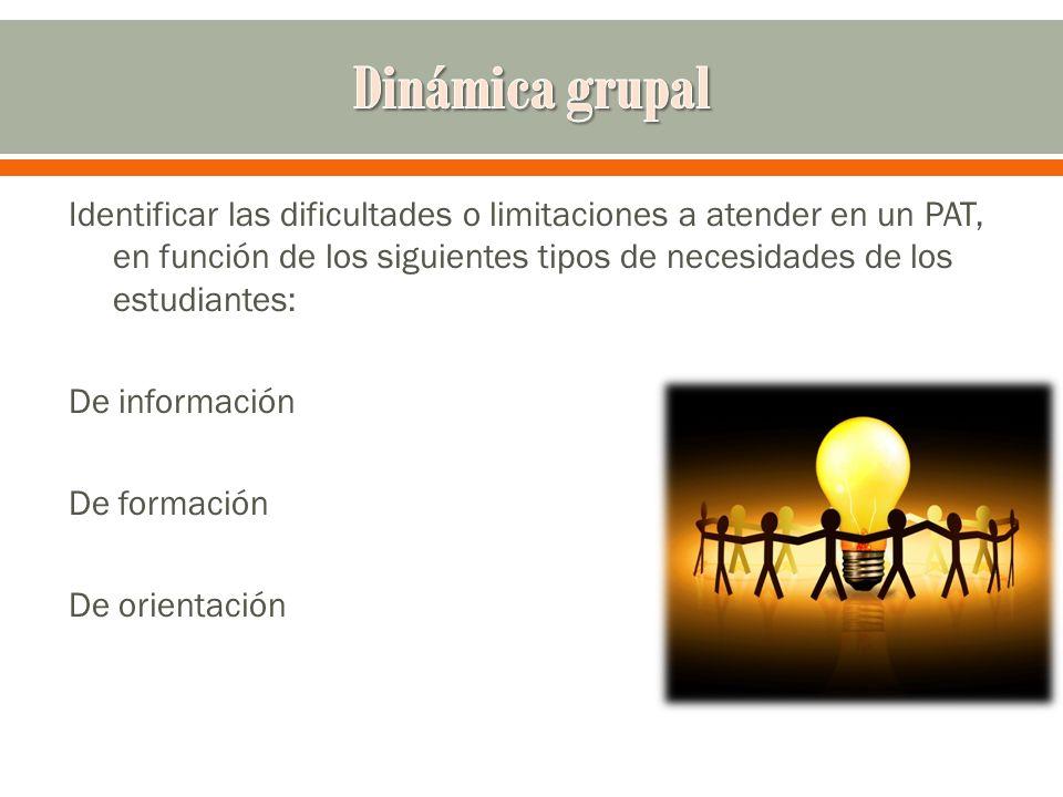 Identificar las dificultades o limitaciones a atender en un PAT, en función de los siguientes tipos de necesidades de los estudiantes: De información