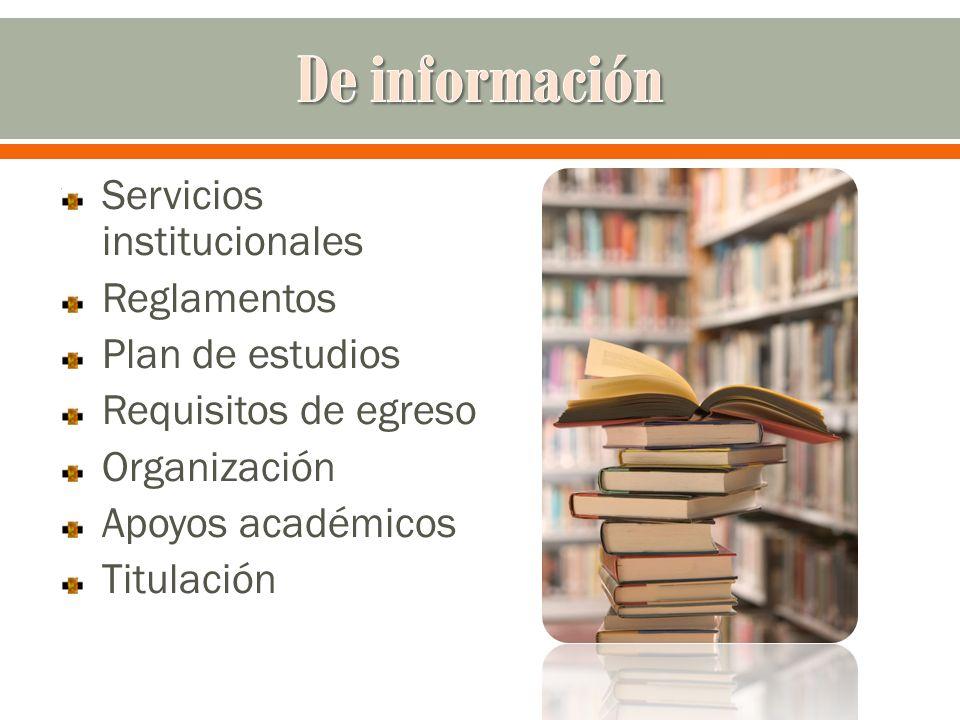 Servicios institucionales Reglamentos Plan de estudios Requisitos de egreso Organización Apoyos académicos Titulación