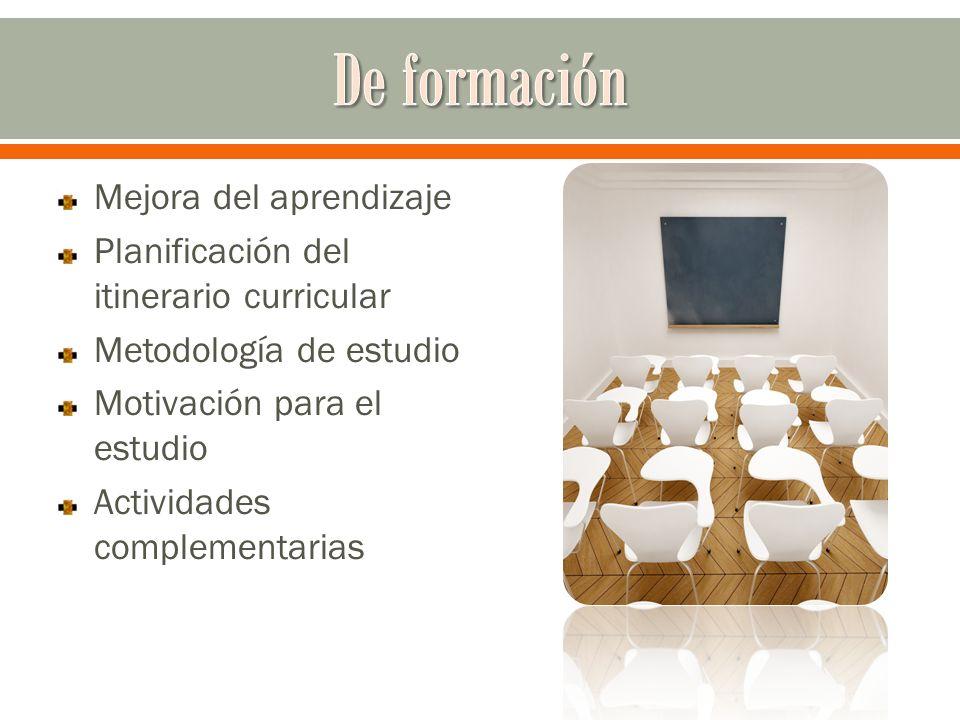 Mejora del aprendizaje Planificación del itinerario curricular Metodología de estudio Motivación para el estudio Actividades complementarias