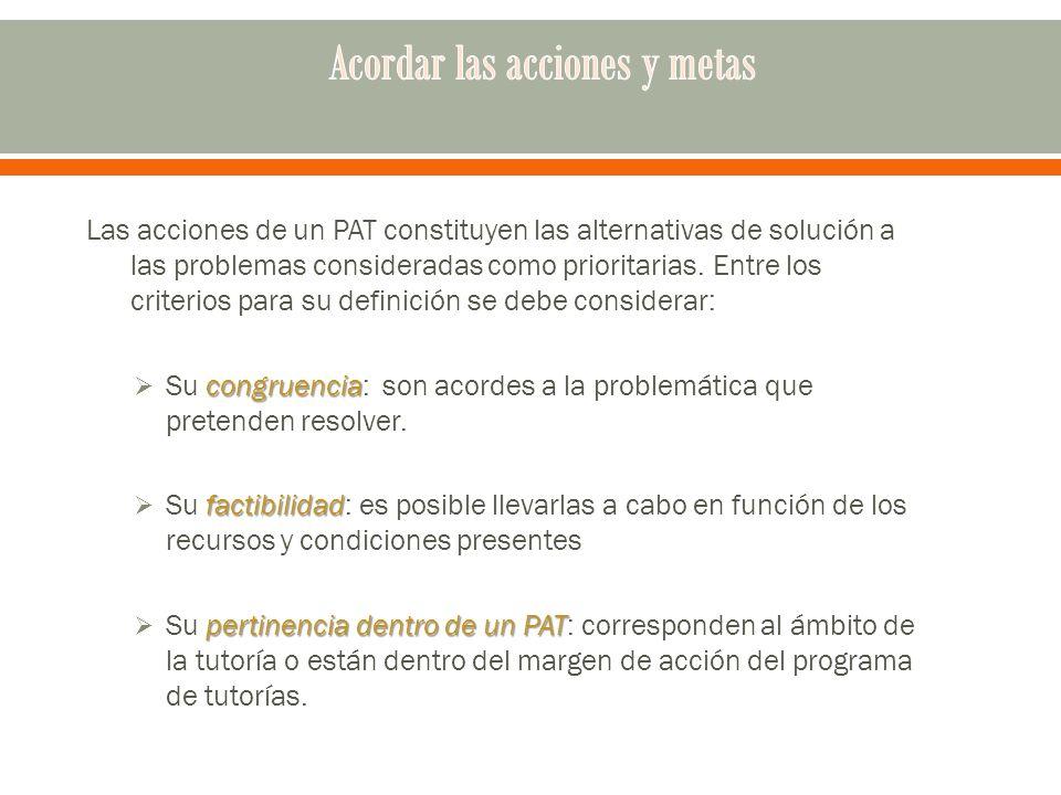 Las acciones de un PAT constituyen las alternativas de solución a las problemas consideradas como prioritarias.