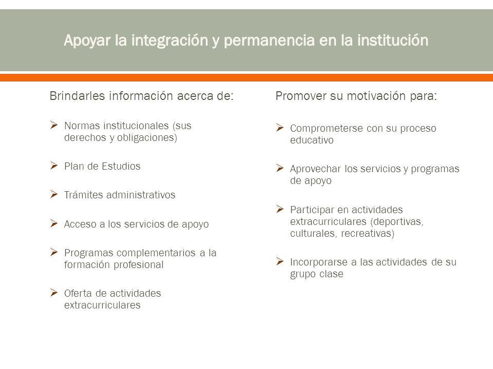 Brindarles información acerca de: Normas institucionales (sus derechos y obligaciones) Plan de Estudios Trámites administrativos Acceso a los servicio