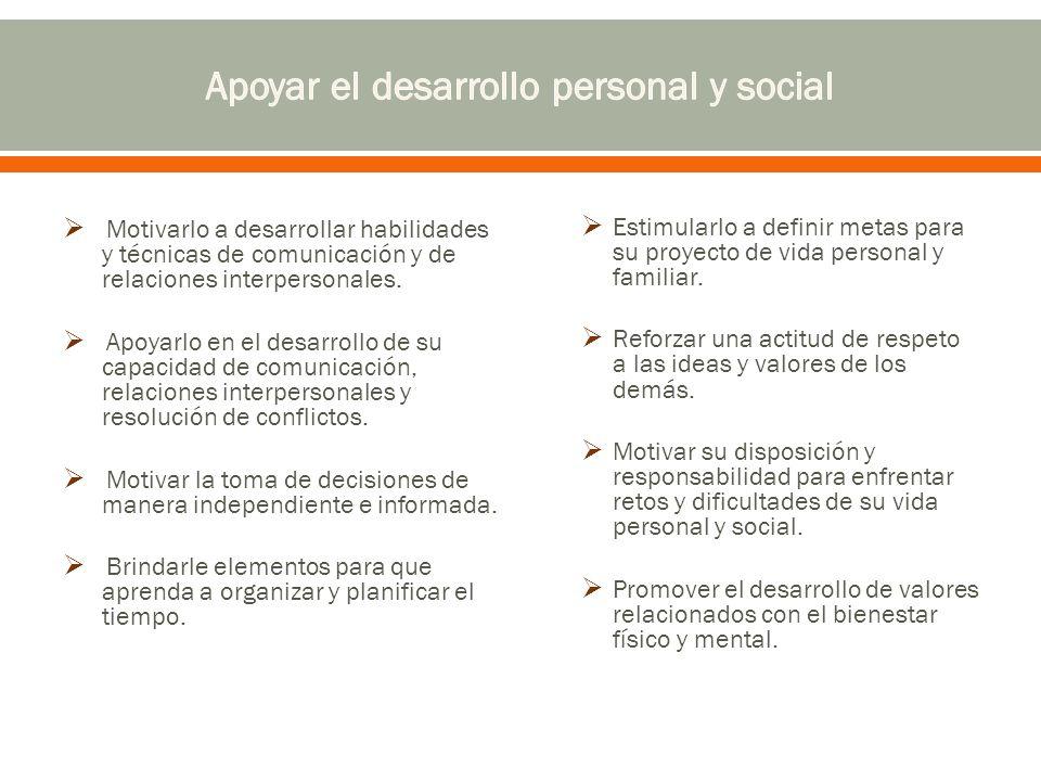 Motivarlo a desarrollar habilidades y técnicas de comunicación y de relaciones interpersonales.